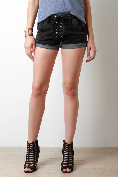 Lace Up Low Waist Denim Shorts