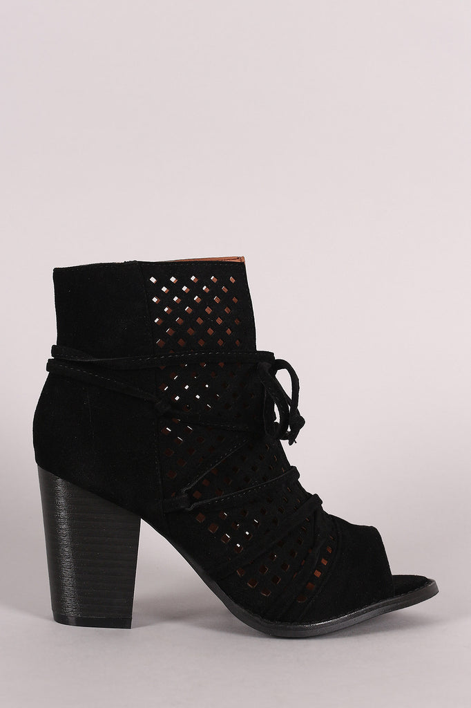 Perforated Suede Slit Lace-Up Chunky Heeled Booties