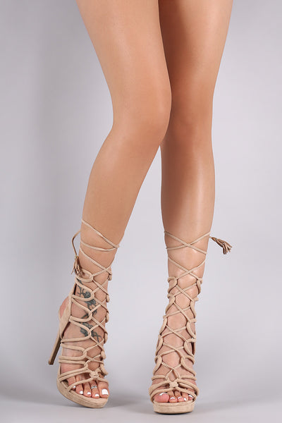 Wild Diva Lounge Suede Strappy Loop Lace-Up Platform Heel