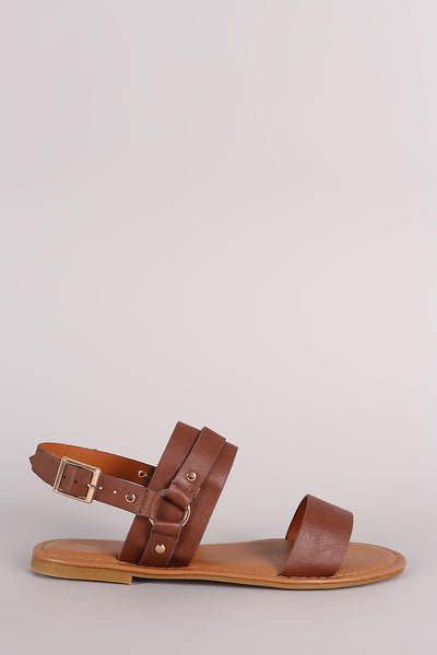 Bamboo Double Band Hardness Slingback Flat Sandal