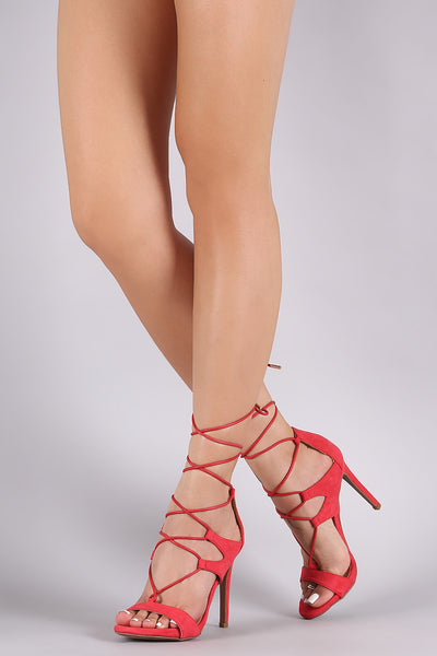 Anne Michelle Lace Up Open Toe Heel