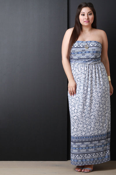Empire Waist Floral Print Strapless Maxi Dress