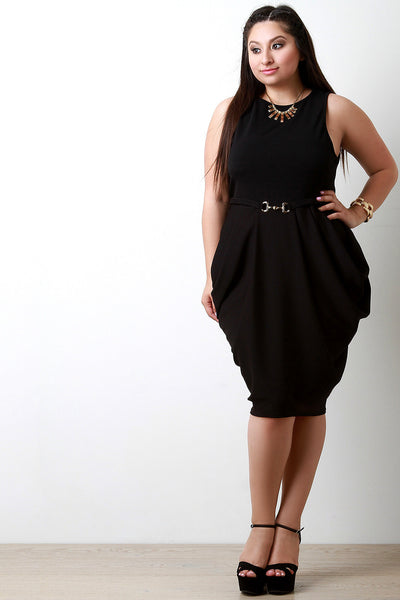 Crinkled Sleeveless Belted Draped Tank Dress