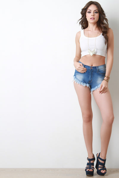 High Cut Frayed Hem Shorts