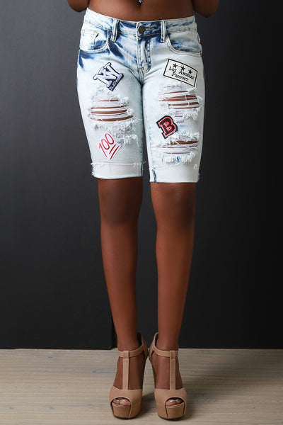 Bleached Distressed Patch Denim Bermuda Shorts