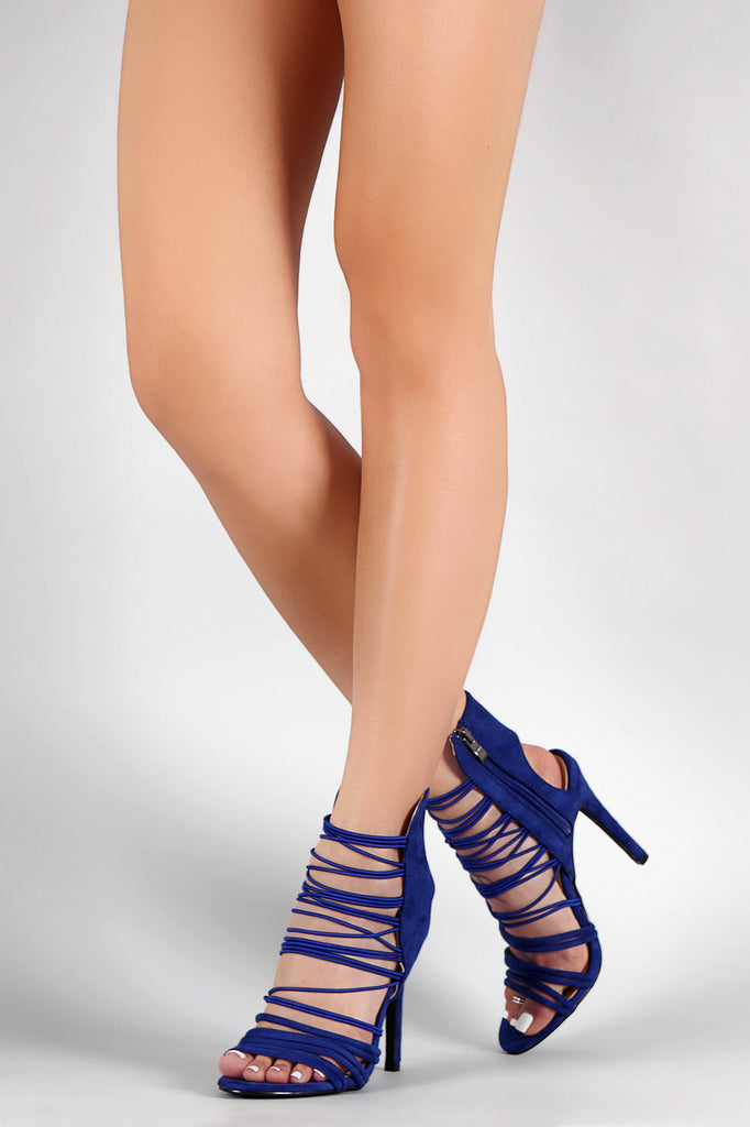 Qupid Suede Open Toe Strappy Stiletto Heel