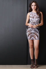 Sleeveless Mesh Engineered Abstract Print Dress