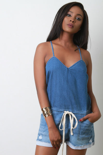 Faded Denim V-Neck Drawstring Cami Romper