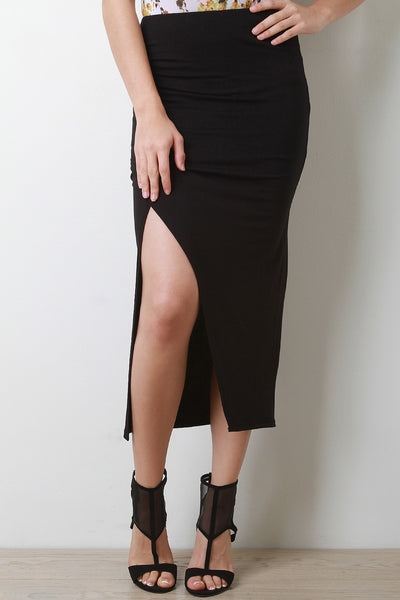 Side Ruched Overlapping Midi Skirt