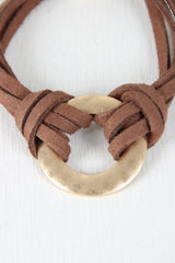 Vegan Leather Pull String Circle Bracelet