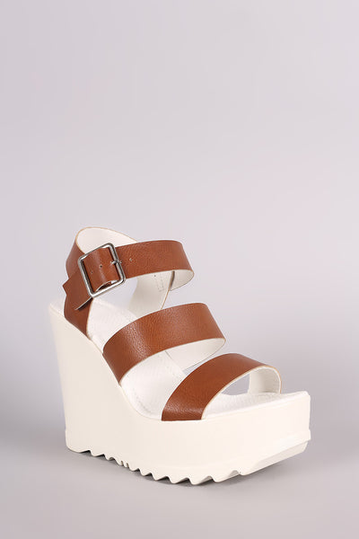 Wild Diva Lounge Triple Band Lug Sole Platform Wedge