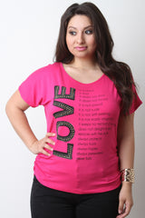 Rhinestone Accent Love Graphic Print Short Sleeve Tee