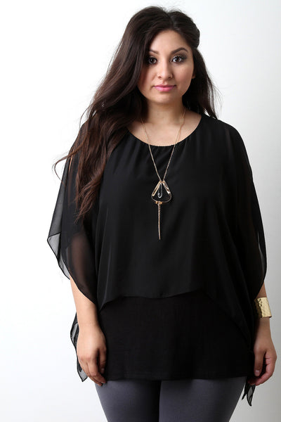 Chiffon Poncho Overlay Teardrop Necklace Top