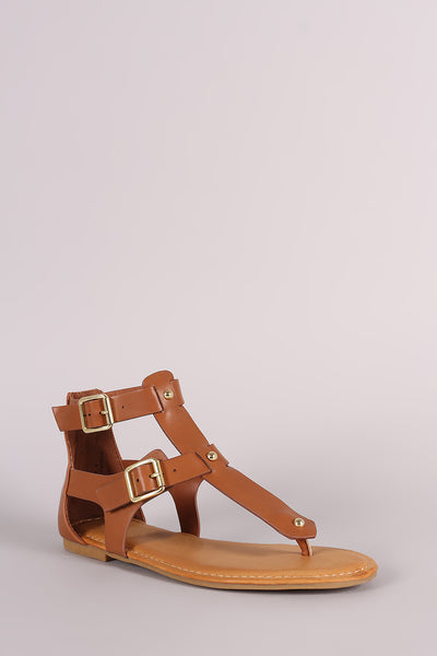 Bamboo Studded Buckled T-Strap Flat Sandal