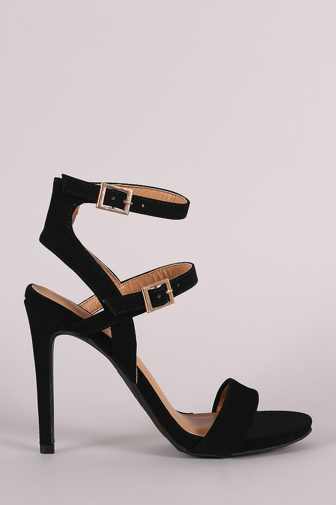 Anne Michelle Nubuck Triple Straps Single Sole Heel