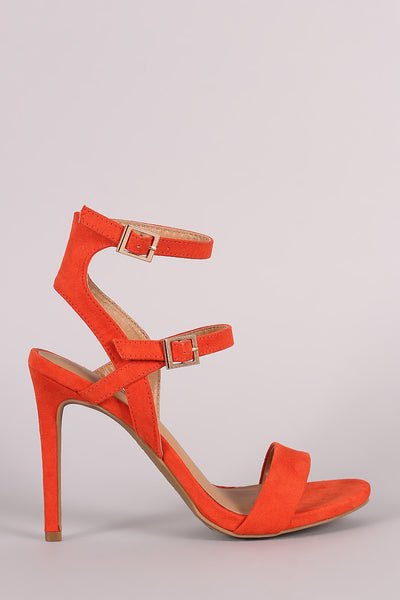 Anne Michelle Suede Triple Straps Single Sole Heel - JDI Threads