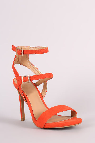 Anne Michelle Suede Triple Straps Single Sole Heel
