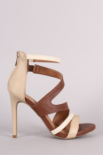 Anne Michelle Strappy Slanted Peep Toe Stiletto Heel