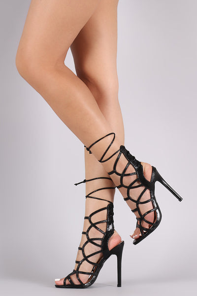 Liliana Back Lace-Up Caged Single Sole Heel