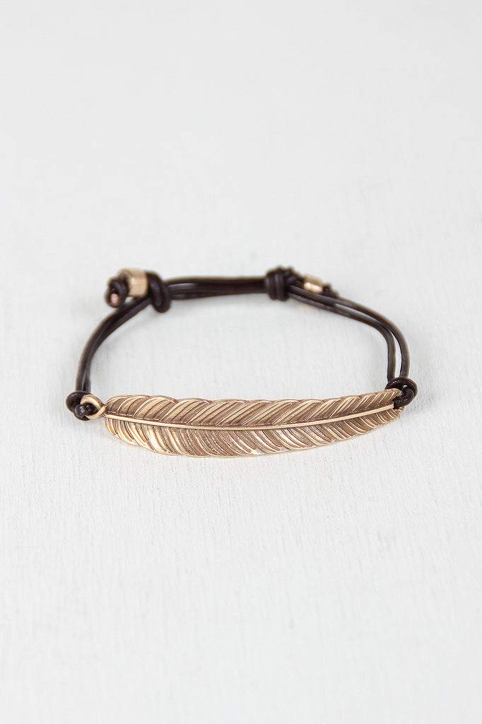 Light As A Feather Leather Pull String Bracelet