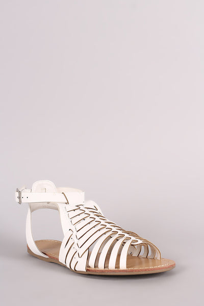 Wild Diva Lounge Woven Ankle Strap Flat Sandal