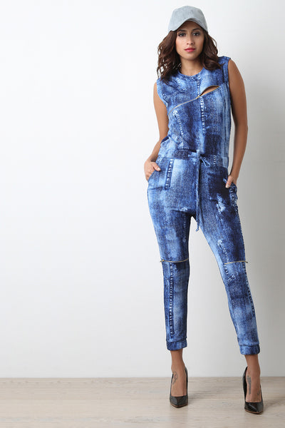 Denim Print Mock Neck Zippered Jumpsuit