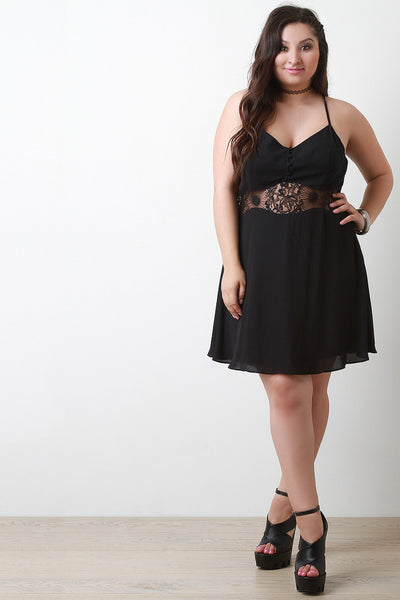Lace Inset Button Up Day Dress