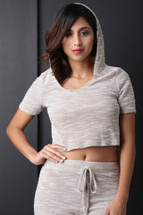 French Terry Razor Cut Hooded Crop Top