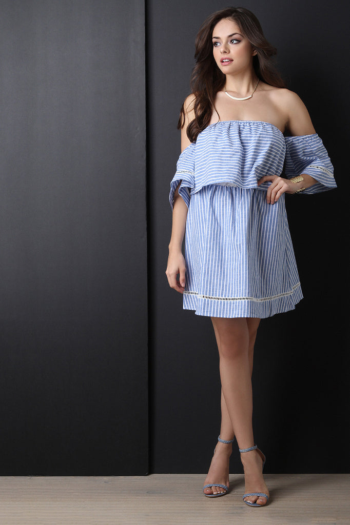Off The Shoulder Stripe Ruffle Dress