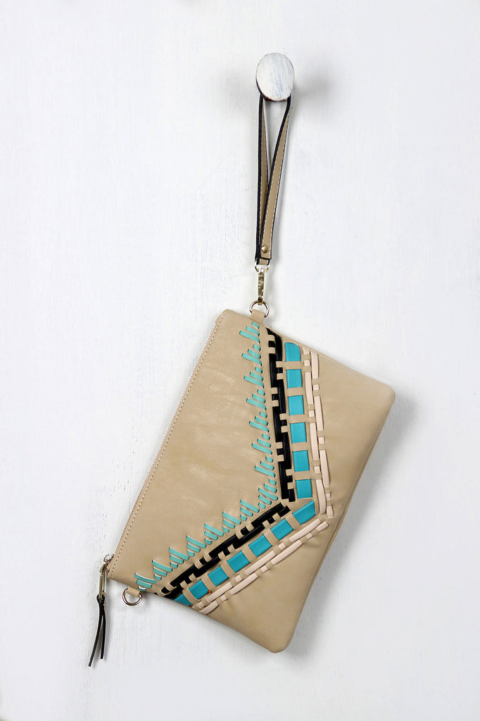 Native Contrast Stitched Clutch