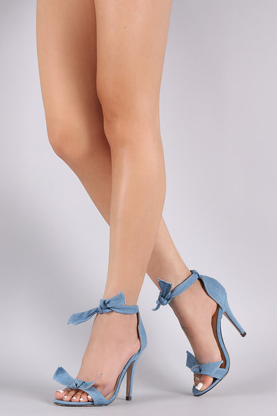 Denim Knotted Ankle-Tie Single Sole Heel