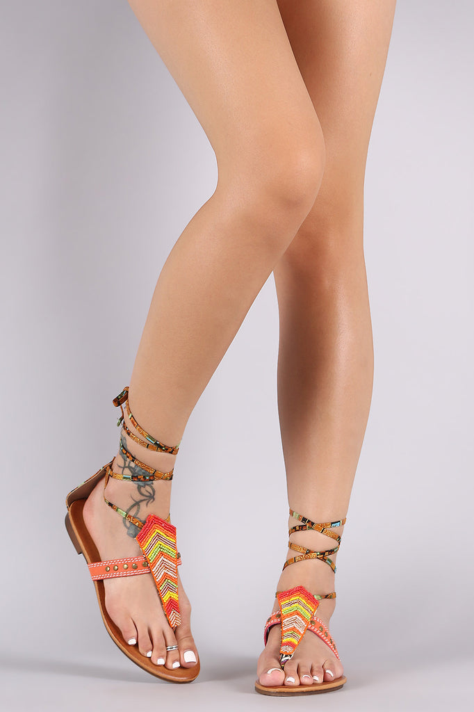 Tribal Beadwork Studded Lace-Up Flat Sandal