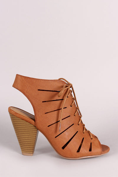 City Classified Cutout Lace-Up Mule Heel