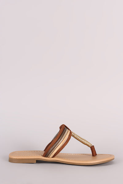 City Classified Spiral T-Strap Slip-On Flat Sandal