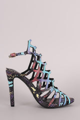 Multicolor Python Caged Peep Toe Stiletto Heel