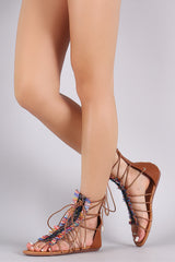 Liliana Multicolor Straw Fringe Lace-Up Gladiator Sandal