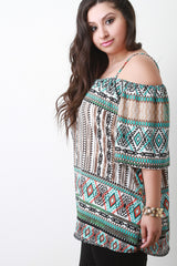 Tribal Print Cold Shoulder Elbow Sleeve Blouse Top