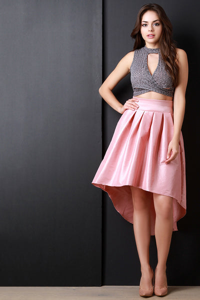 Taffeta High-Low Pleated Back Bow Skirt