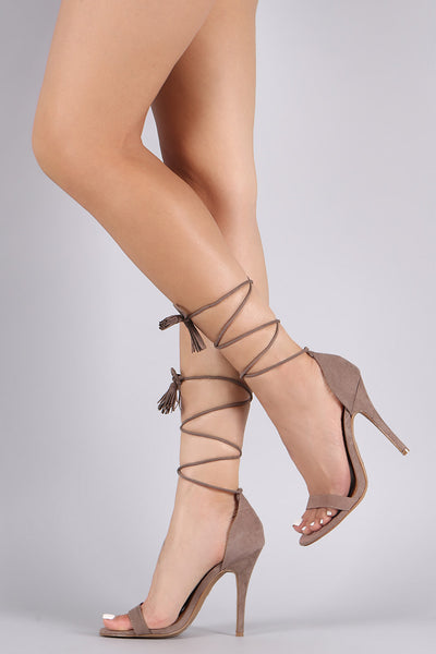 Anne Michelle Suede Tassel Lace-Up Open Toe Heel
