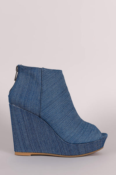 Bamboo Denim Peep Toe Wedge Booties - JDI Threads