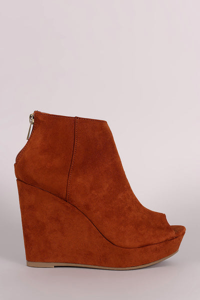 Bamboo Vegan Suede Peep Toe Wedge Booties
