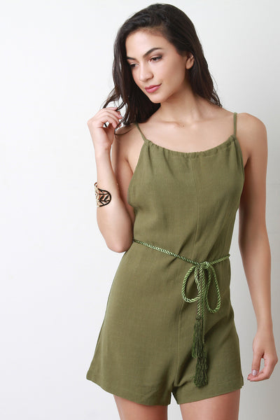 Backless Rope Tassel Belt Romper