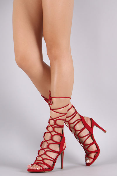 Anne Michelle Suede Strappy Lace-Up Stiletto Heel