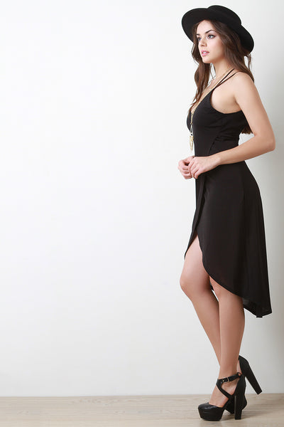 Backless High Low Hem Wrap Dress
