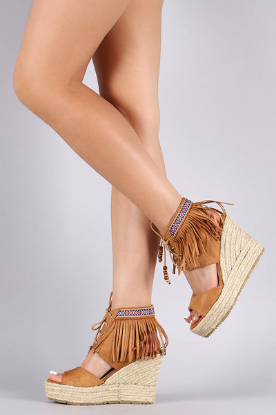 Fringe Ankle Cuff Lace-Up Wedge