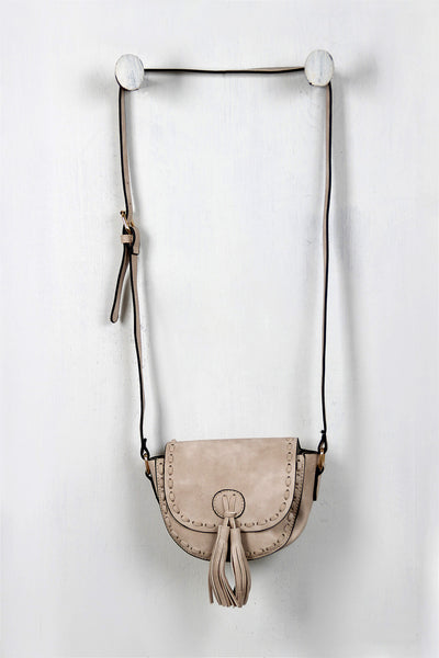 Vegan Leather Stitch Tassel Mini Bag