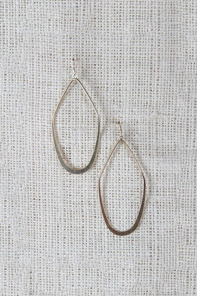 Flattened Angular Tear Drop Shaped Dangle Earrings