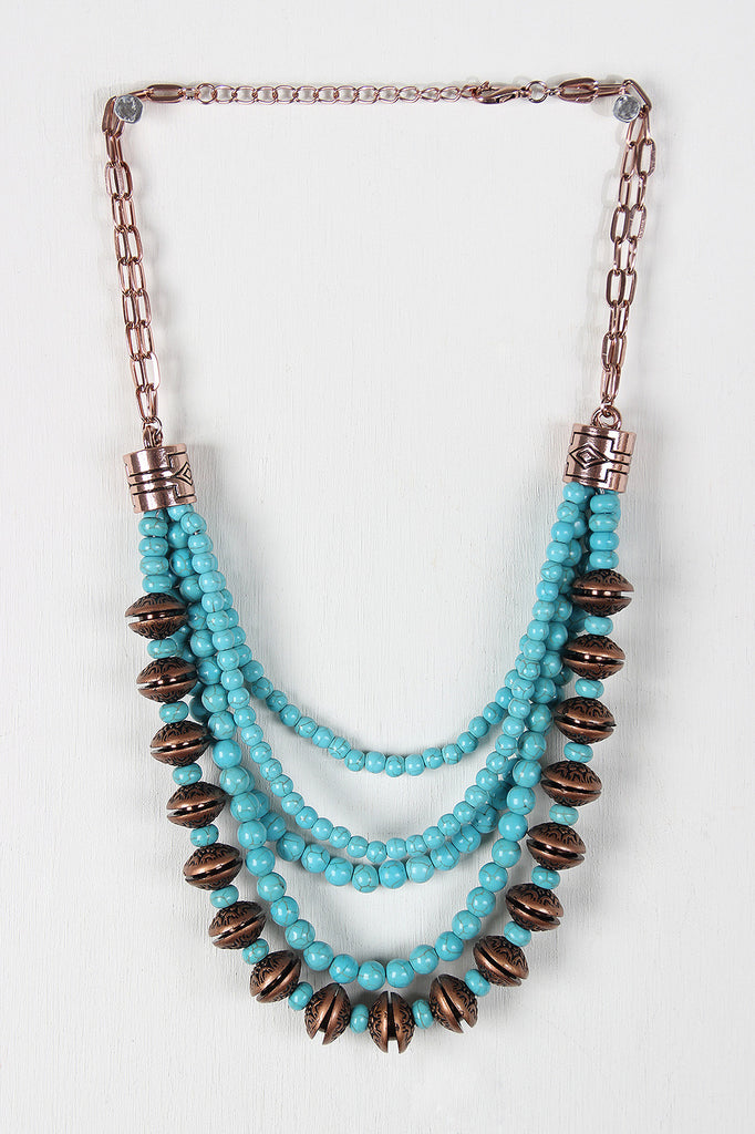 Faux Turquoise Beaded Statement Necklace