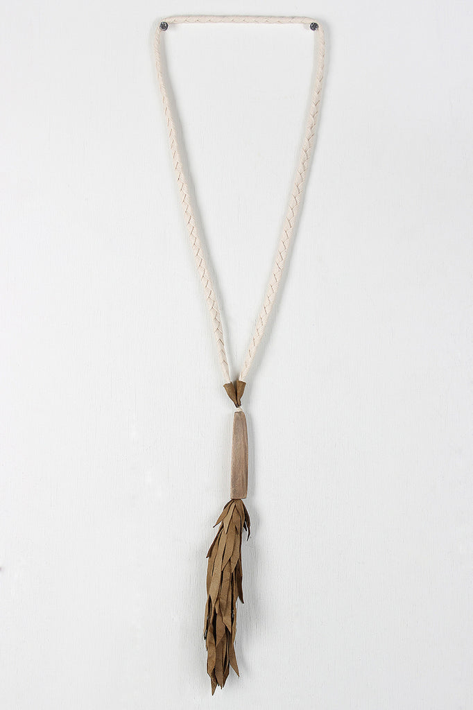 Wood and Leather Tassel Pendant Necklace