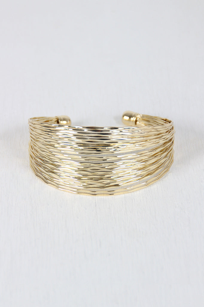 Hammered Wire Open Cuff Bracelet